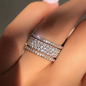 NWOT Silver White Sapphire Ring